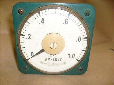Large Ge General Electric 8db Panel Meter D.c Amperes 0-1