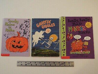 Kids Halloween Jokes Riddles (3-lot-KIDS HALLOWEEN BKS-SPOOKY RHYMES-RIDDLES-GHOSTLY GIGGLES-BAD MONSTER)