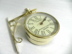 VICTORIA ~ STATION ~ RAILWAY BRASS CLOCK LONDON DOUBLE ~ SIDE ~ CLOCK 10 INCHES