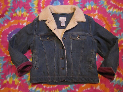 Womens LL BEAN Sherpa Fleece Lined Jean Jacket Trucker Corduroy Cuffs M Petite for sale  Shipping to South Africa