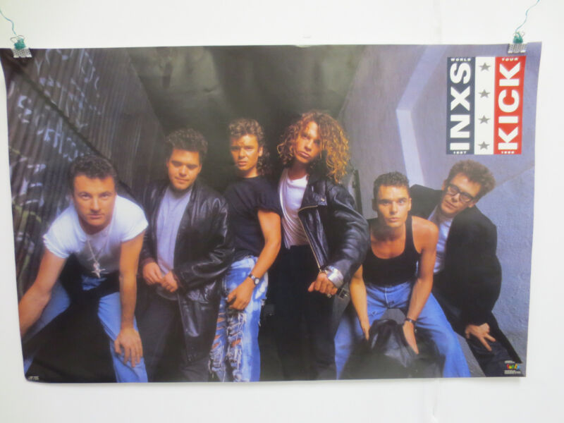 INXS ROCK & ROLL VINTAGE 1987 POSTER BY FUNKY WORLD TOUR KICK MICHAEL HUTCHENCE