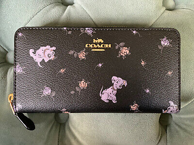 Coach X Disney Accordion zip Wallet Dalmatian Dogs Pups Floral Black NWT 91743