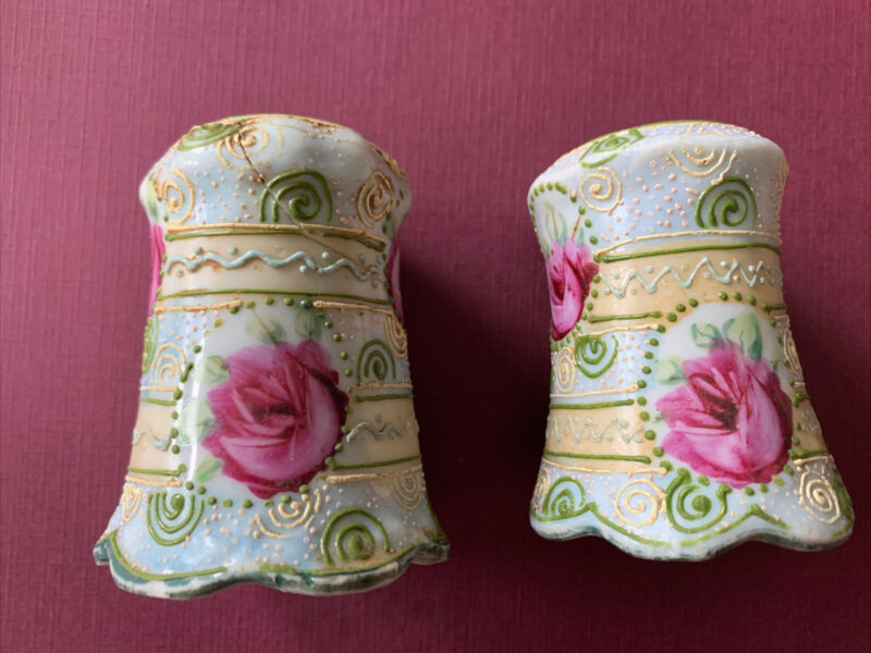 Vintage Hand Painted Porcelain Salt And Pepper Shakers Pink Roses