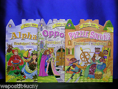 Fairy Tale Activity Books Alphabet Opposites Puzzles Preschool Shiny Stickers Fairy Tale Activity