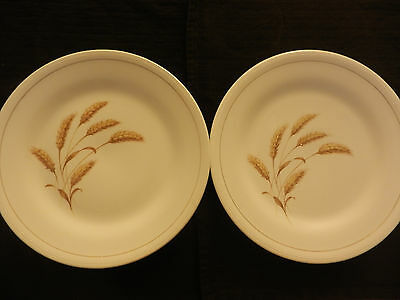 """Edwin Knowles China GOLDEN WHEAT set of 2 Dinner Plates 9 7/8""""  Vintage EUC"""