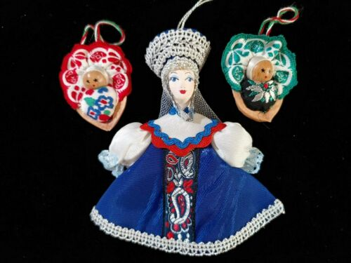 3 Hungarian Christmas Ornaments: 1 doll and 2 Embroidered Walnut Babies
