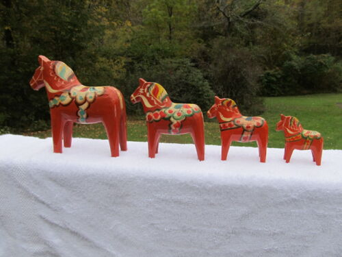 Lot of 4 Handmade Swedish Dala Dalahemslojd Horses from Nils Olsson Mora