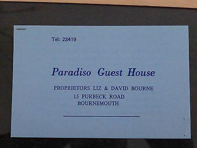 VINTAGE PARADISO GUEST HOUSE  BORNEMOUTH DORSET - CARD