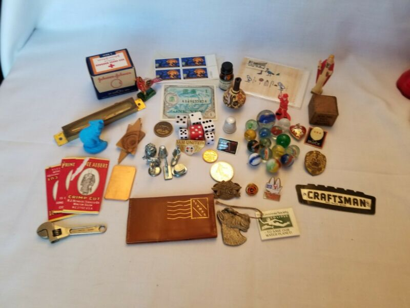 Junk Drawer Lot VINTAGE~Marble,dice,stamps,keychain,military dollars,HOG pin