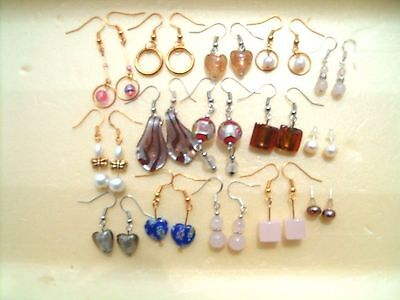 15 Pairs Mix Earrings, FW Pearl Rose Quartz Murano Silver foil Lamwork beautiful