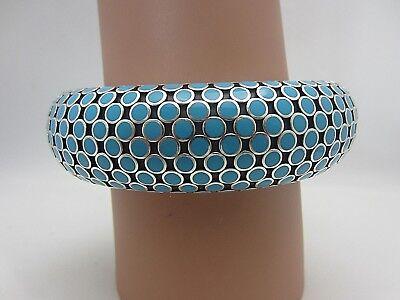 John Hardy Flex Dot Cuff Bracelet Sterling Silver Blue Enamel 23 mm wide