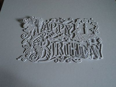 TATTERED LACE VINTAGE HAPPY BIRTHDAY DIE CUTS (NEW RELEASE) X 12 WHITE