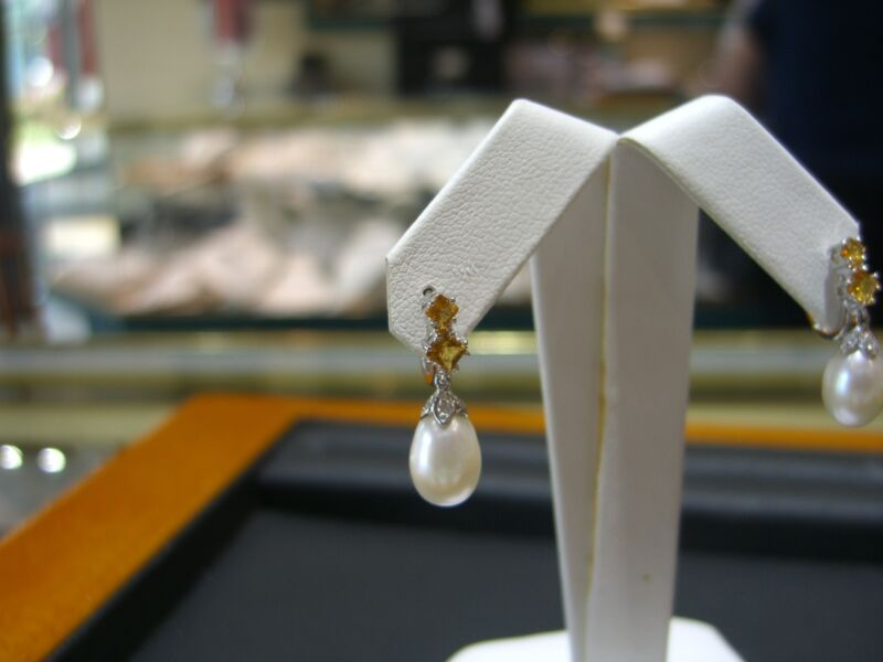 Fine 14 Karat White Gold Diamond Citrine And Pearl Drop Earrings New