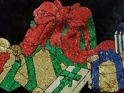 """Christmas Tree Skirt SEQUINS pattern packages ribbon Velvet black/red 52"""" Round"""