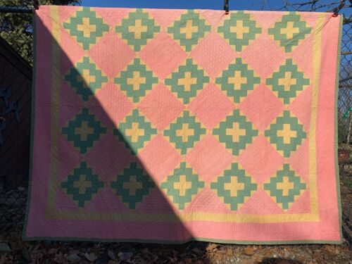 "Antique Vintage Cotton Fabrics Late 1800s Dbl Pink Green Yellow Quilt 76""X90"""