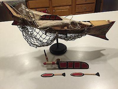 """Early Northwest Coast Whaling Boat Model """"Ex-Museum"""" Polychrome Tlingit-Haida"""