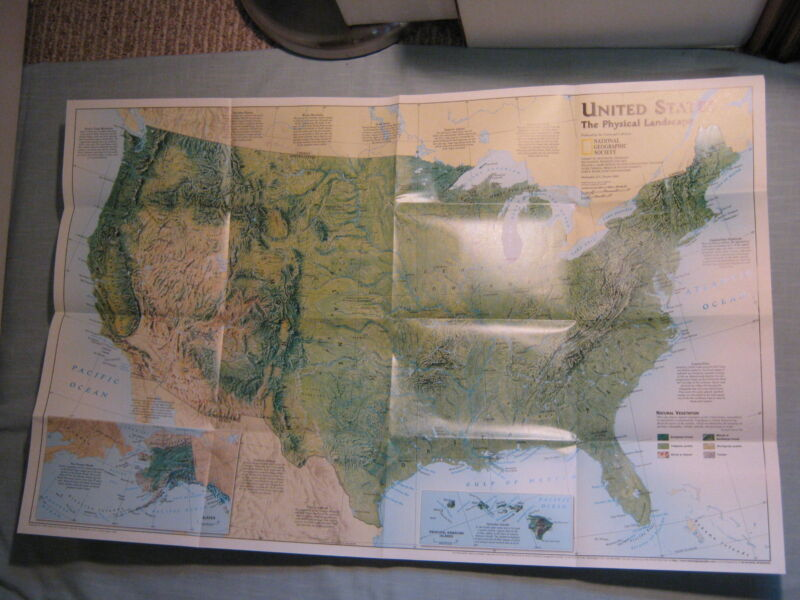 PHYSICAL WALL MAP OF THE UNITED STATES + FEDERAL LANDS Nat Geographic 1996 MINT