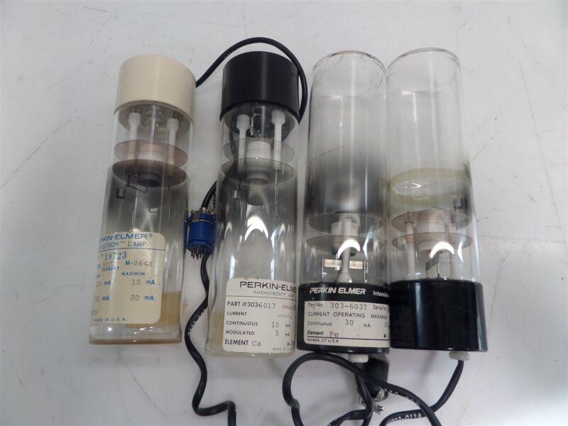 Lot of 4 - Perkin Elmer Intensitron Hollow Cathode Lamp - Cr, Ca, Fe - AS IS