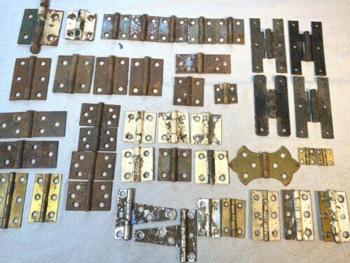 41 Vintage Hinges ~ Many Pairs, Sets ~ Pantry, Cupboard, Boxes, Door Hardware