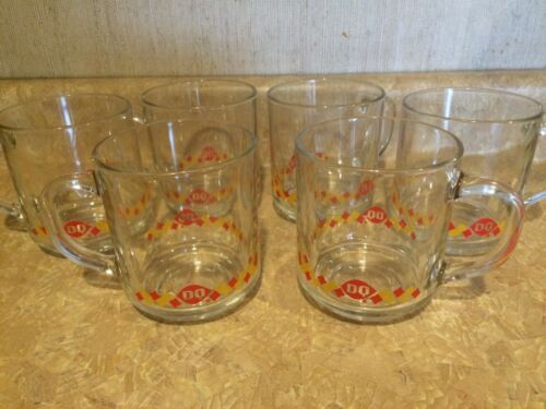 Vintage Glass Dairy Queen Coffee Mugs (DQ) Lot of 6