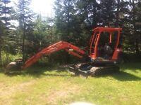 Mini excavator serves