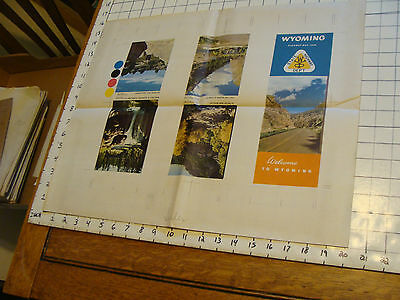 Vintage 1948 Printing Sample Poster: WYOMING U.S. STATE HIGHWAY MAP,16x20, #1707