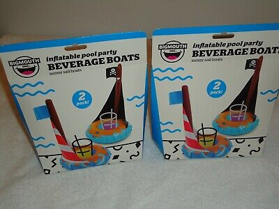 4 NEW BIGMOUTH INC INFLATABLE POOL PARTY BEVERAGE BOATS SUNNY SAIL BOATS