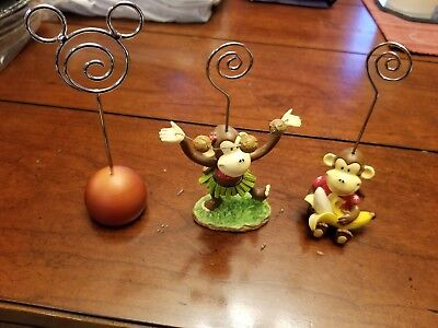 Lot Of 3 Wire Picture Photo Holder Monkeys coconuts Mickey Mouse Cute Gifts (Cute Picture Holder)