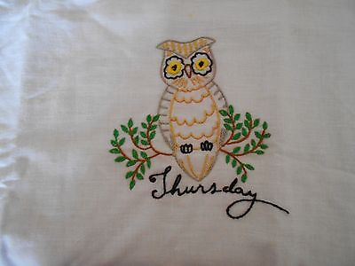 VINTAGE KITCHEN TOWEL WITH AN OWL AND THURSDAY EMBROIDERED ON IT
