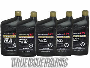 Honda Genuine Motor Oil 5w 20 Synthetic Blend 5 Quarts Pack 08798 9032