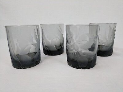 Set of 4 FROSTED SMOKEY ETCHED ORCHID Glasses Glassware Tumblers Cocktail Glass