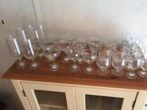 Vintage Set of 32 Stemmed and Cordial Glasses with Etched Birds