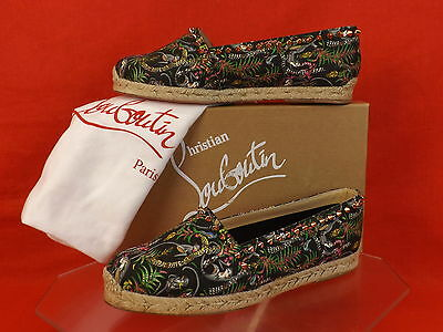 NIB LOUBOUTIN BLACK ARES CANVAS GOLD TONE STUDS SPIKES ESPADRILLES FLATS 40