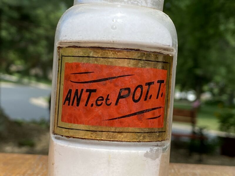 ~SWEET ~ Antique Apothecary RED POISON LABEL Under Glass Pharmacy Bottle ~L@@K~