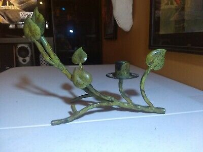 Elegance Taper Candle (Green Metal Candle Holder for Taper Candle, Elegant Plant Branch )