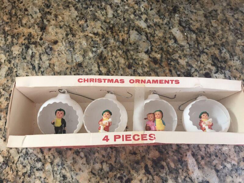 Vintage Christmas Jewel Brite Diorama Pixie Elf Round Ornaments