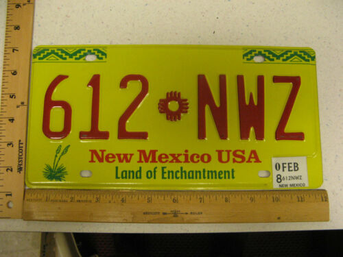 2008 08 NEW MEXICO NM LICENSE PLATE 612 NWZ NATURAL STICKER