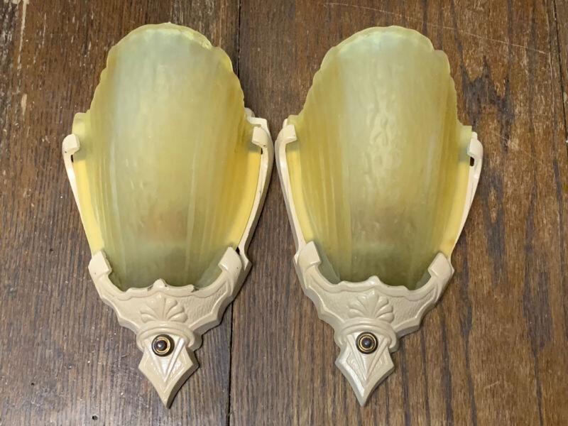 Antique Art Deco Pair Markel Cast Iron Sconces With Slip Shades