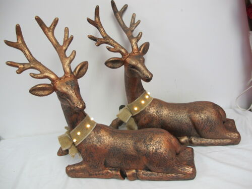 LARGE REINDEER PLASTIC BLOW MOLD LIGHTED COLLAR LAYING   BRONZE  21""