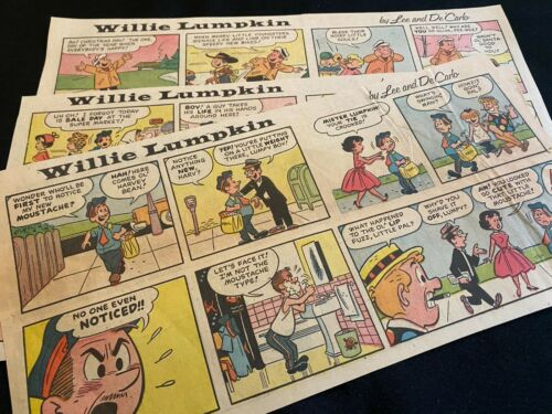 #01  WILLIE LUMPKIN by Lee and DeCarlo  Lot of 4 Sunday Comic Strips 1960-61
