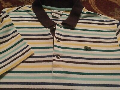 LACOSTE Men's Polo Style 100% Cotton Size 8 MULTICOLOR STRIPED SS Shirt SLIM FIT