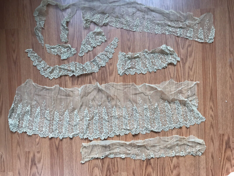 LOT of Antique Victorian Handmade Lace Netting AS IS