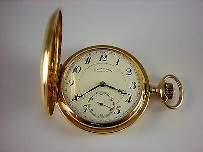 Antique rare A. Lange & Sohne large 14k solid gold pocket watch 1880s. Hi-grade!