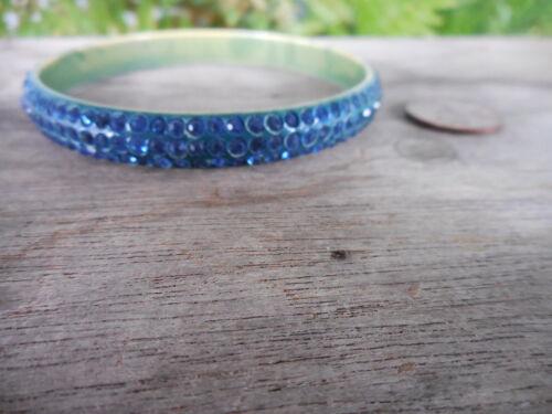 Vintage Art Deco Celluloid Bangle Bracelet 3 Rows Dark Blue Rhinestones
