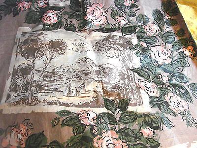 "Vintage 50s Fabric Glazed Cotton Italian Landscape Roses 23x54"""