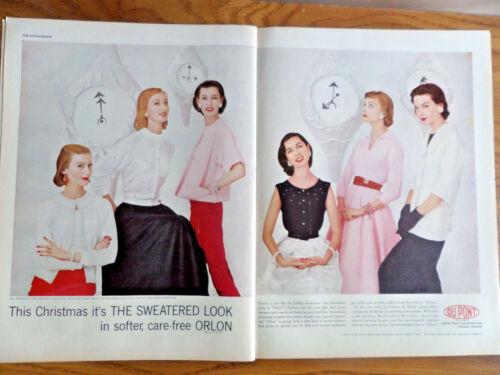 1955 Du Pont Orlon Ad  Christmas Sweaters Collection