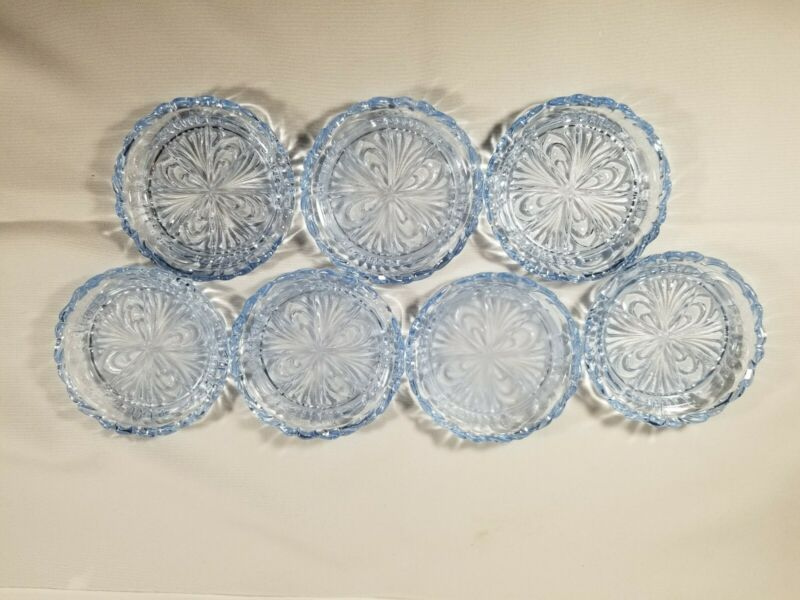Vtg Cambridge Glass Caprice Moonlight Blue Coasters Set Of 7 Rare