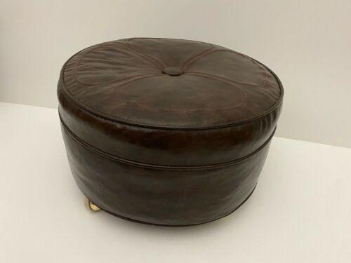 """Vintage Mid-Century Modern Round Brown Vinyl Hassock Foot Stool Ottoman 19.5"""""""