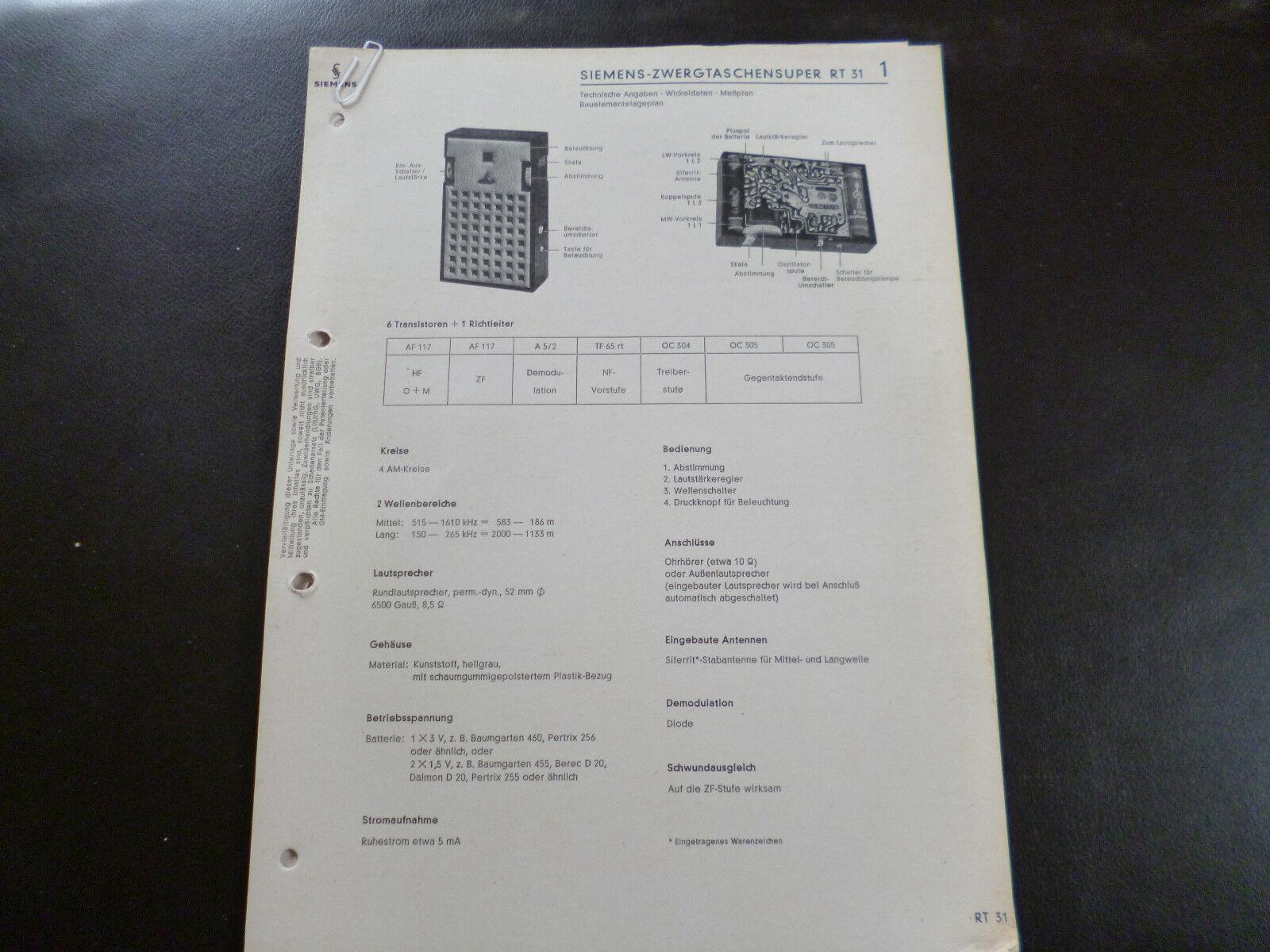 Original Service Manual Siemens Zwergtaschensuper RT 31
