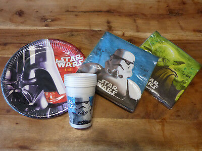 28 tlg.STAR WARS PARTY GEBURTSTAGS SET Darth Vader Yoda Teller Becher Servietten (Star Wars Party Set)